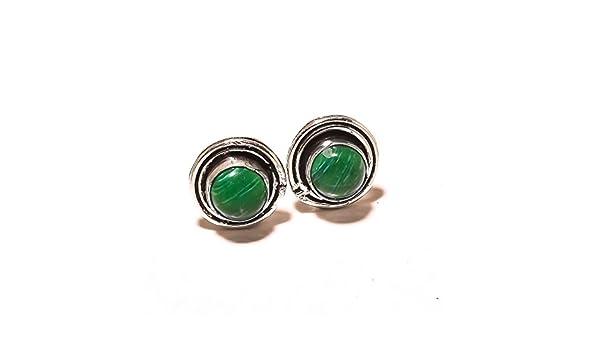 Handmade Art Jewelry Green Malachite Sterling Silver Plated 5 grams Stud// Earring 12 mm Modern Fashion