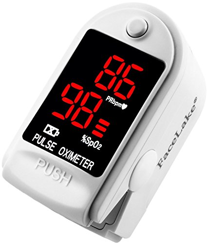 FaceLake White Pulse Oximeter, Lanyard, Carrying Case and Batteries included