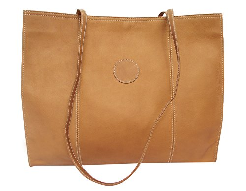 Piel Leather Carry-All Market Bag, Saddle, One Size