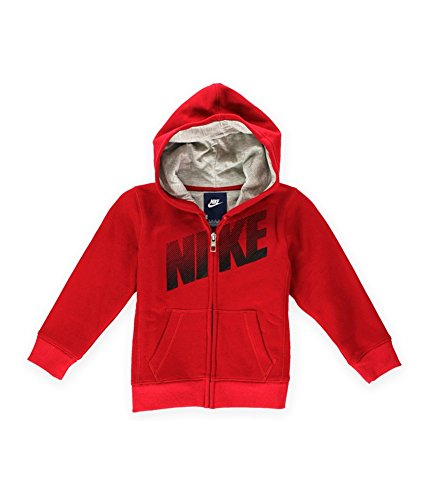 Nike Little Boys' Full-Zip Hoodie (4, Gym Red) (Nike Fleece Embroidered Basketball)