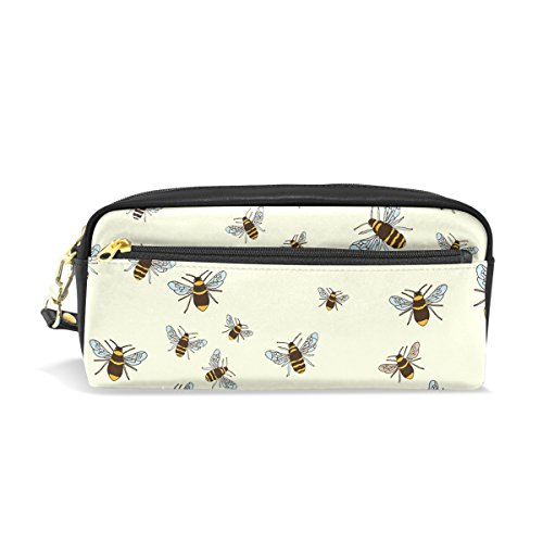 PU Leather Bees Pattern Pen Pencil Case Bag Purse Pouch Cosmetic Bag Zipper for School Boy Girl Office Work (Work Bee Good Holder)