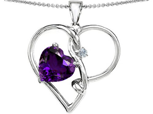 Large Amethyst Heart (Star K Large 10mm Heart Shaped Simulated Amethyst Knotted Heart Pendant Necklace Sterling Silver)