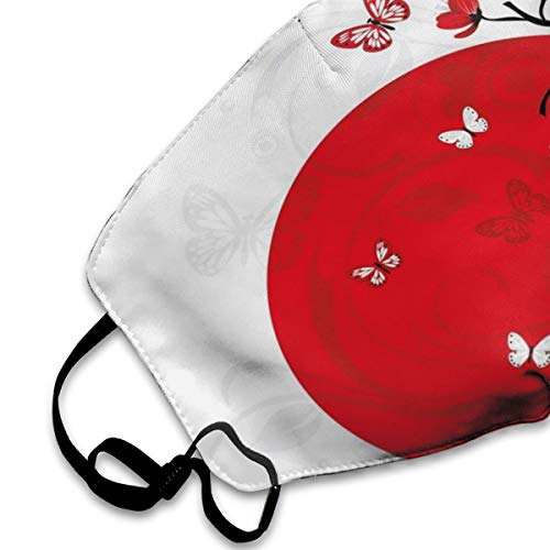 NYF Unisex Anti Dust Mouth Mask Japanese Culture Inspired Artwork Cherry Blossom Sakura Tree Eastern Fashion Traveling Face Mask with Adjustable Earloops