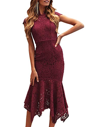ZESICA Women's Retro Lace Floral Sleeveless High Neck Mermaid Cocktail Evening Party Dress Red