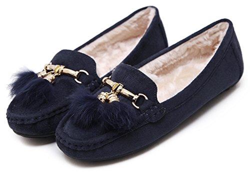 Dolfijnbanana Womens Suède Mocassin Platte Schoenen Met Gouden Kwastjes Hanger Marine Blauw