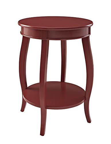 Powell Furniture Round Table with Shelf, Red