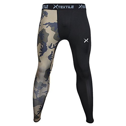 Xtextile Mens Sports Compression Pants, Cool Dry Sports Tight Leggings for Gym, Basketball, Cycling, Yoga, Hiking (Army Green Camouflage, ()