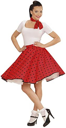 Red with White Polka Dot Spotty Rock N Roll Skirt /& Scarf Set