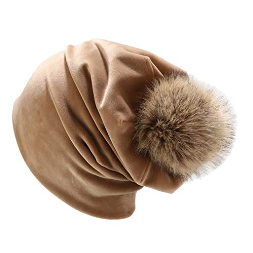 TRESOMI Baggy Solid Color Skull Beanies Hats Women's Casual Comfortable Wearing Bonnets With Pompom