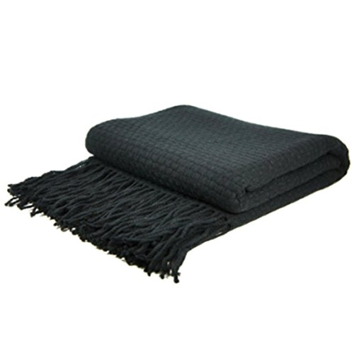 uxcell Indigo7 Authorized 50/50 Basketweave Cashmere Blend Throw Black