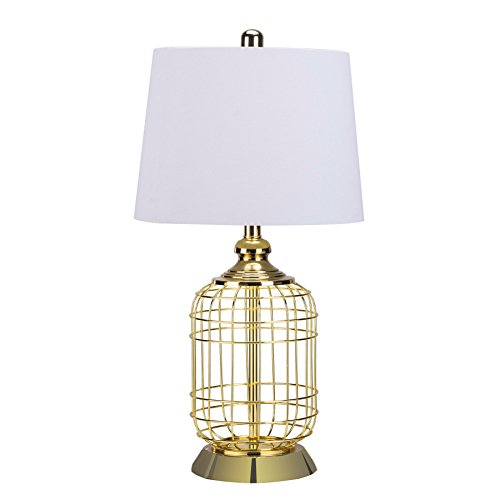 CO-Z Elegant Table Lamps, Birdcage Anti-rust Gold Metal Base & White Fabric Lamp Shade, 25.5 Inches Height for Living Room Bedroom (Lamp Gold Base)