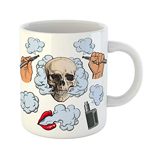 Emvency Coffee Tea Mug Gift 11 Ounces Funny Ceramic Vaping Related Symbols Smoke Skull Vaporizer E Cigarette Sketch Hand Holding Gifts For Family Friends ...