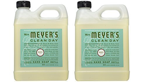 Basil Soap Hand (Mrs. Meyer's Clean Day Liquid Hand Soap Refill, 33 fl oz, Basil (Pack of 2))