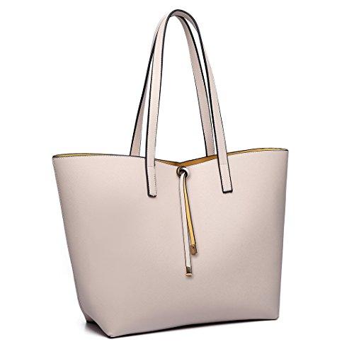 Shoulder Tote Two Leather Miss Women One In Bag Shopper Set Faux Handbag Reversible Beige Large Lulu gtfqtwx0