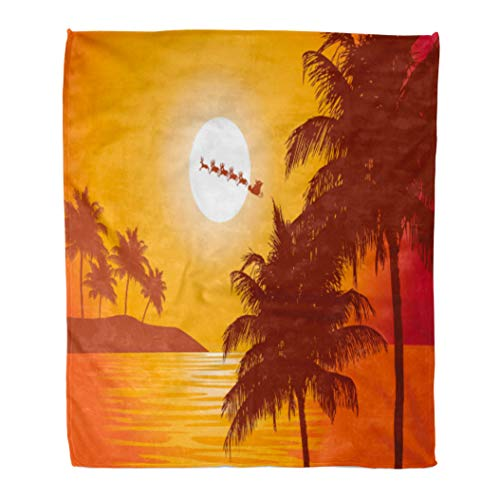 Emvency Throw Blanket Warm Cozy Print Flannel Santa Ride Claus Rides Past The Full Moon Over Tropics to Deliver Christmas Comfortable Soft for Bed Sofa and Couch 60x80 Inches