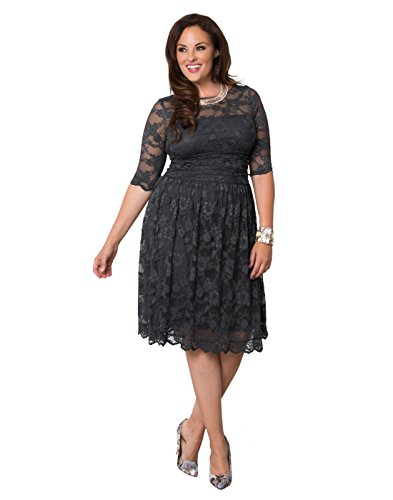 Kiyonna Women's Plus Size Scalloped Luna Lace Dress 2X Twilight Grey