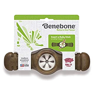Benebone Pawplexer Interactive Treat Dispensing Tough Dog Puzzle Chew Toy, Made in USA, Medium, Real Bacon Flavor