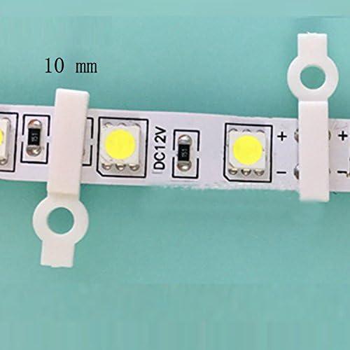 VABNEER 100 pezzi Strisce LED Fibbie di fissaggio a strisce di luce a un lato Per la striscia luminosa a LED a strisce bianche Larghezza 10mm Con viti da 100 pezzi 5050