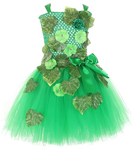 Tutu Dreams Halloween Ivy Costume Kids Girls Movie Comic Villain Cosplay Clothes (Large, Poison Ivy)
