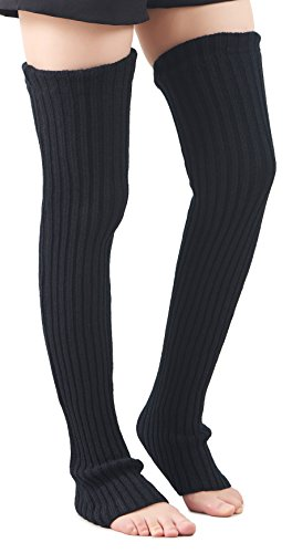 Leotruny Women's Winter Knee High Footless Socks Knit Leg Warmers (Black)