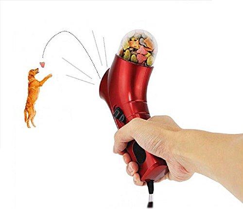 Goodid alimentador de pienso para perro y gato,pistola,lanzador,transmisor de comida para jugar al aire libre con mascota,juguete de formación y premio para animal domestico (Rojo)