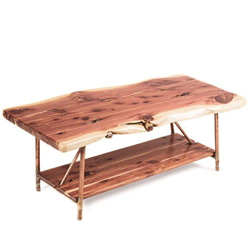 Niangua Furniture Live Edge Rustic Coffee Table - Cedar Wood - Metal Copper Pipe Legs - 48