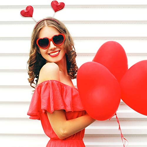 Trounistro 8 Pack Valentine's Day Heart Headband Glitter Heart Headbopper for Valentine Party Decoration Gift Red