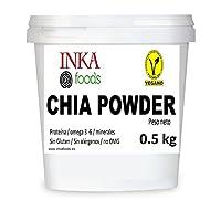 Farine de graines de chia, non dégraissée. 0.5 kg. sans gluten. 15.6% omega 3
