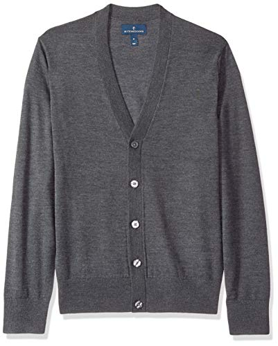 BUTTONED DOWN Men's Italian Merino Wool Lightweight Cashwool Cardigan Sweater, Dark Grey, XX-Large