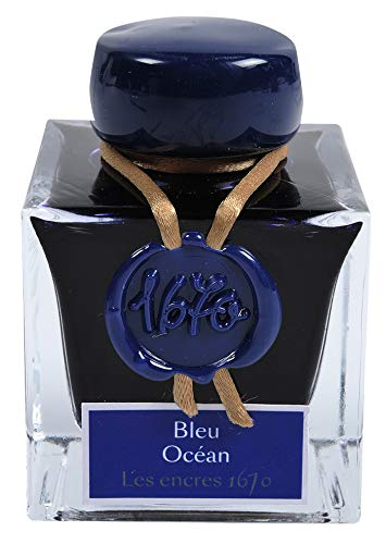 J. Herbin 1670 Anniversary Inks - Gold Sheen 50 ml Bottled - Blue Ocean (Deep Blue Ink)