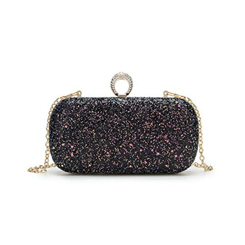Elegant Female Sequin Intellectual Diagonal Clutch Dinner Shoulder Wild Bag Black Ring Fashionable Bag Chain Evening Fashion ZHRUI 1IfEUwx