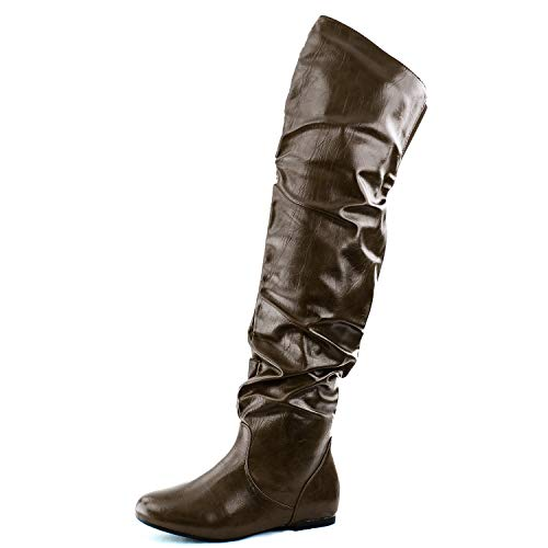 Nature Breeze Womens Vickie-HI Boot Shoes Vickie-HI-BRWNPUBrown PU 10