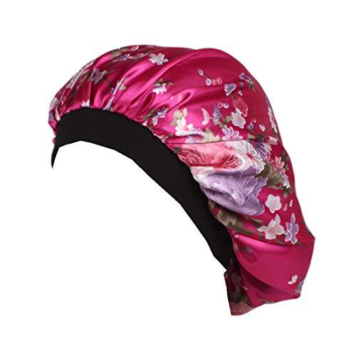 Qhome Luxury Wide Band Satin Bonnet Cap Comfortable Night Sleep Hat Hair Loss Cap ()