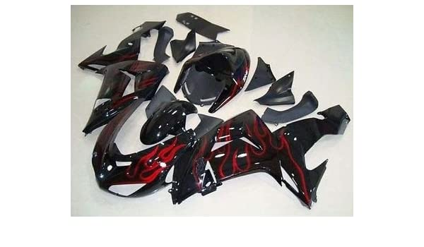 Amazon.com: Black w/Red Flame Injection Fairing for 2006 ...