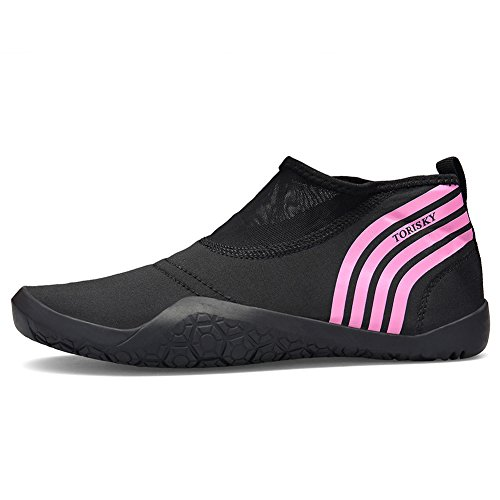 TORISKY Men Women Water Beach Shoes Quick Dry Sports Aqua Shoes Gym Yoga Snorkeling Swimming Black Blue Red Pink 35-47 Pink