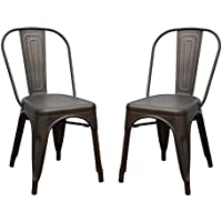 Joveco Heavy Sheetmetal Frame Tolix Style Stackable Industrial Bar Chairs with Back - Set of 2 (bronze) Wholesale Price