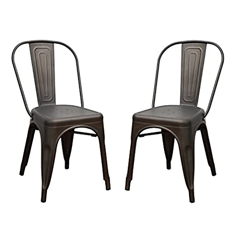 Asense Tolix Style Four Leg Indented Seat Metal Dinning Chairs/Side Chairs with Back (Set of 2) - Bamboo Style Legs