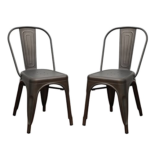 Asense Tolix Style Four Leg Indented Seat Metal Dinning Chairs/Side Chairs with Back (Set of 2) (Bronze)