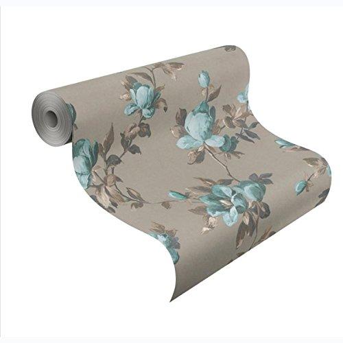 Emilia Rose Floral Wallpaper Gold and Teal Blue Rasch 502152 (Rose Wallpaper Floral)