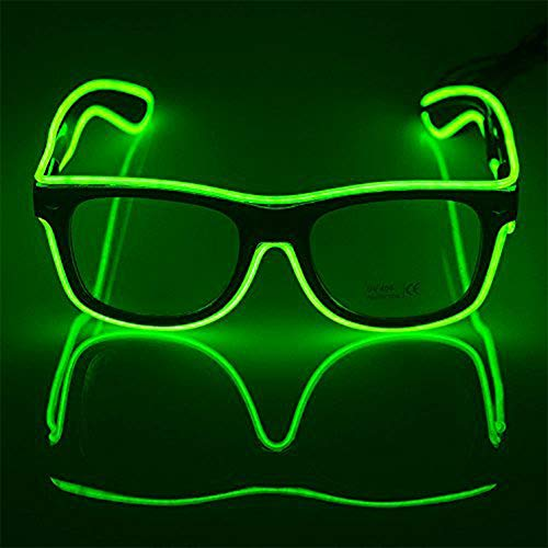 WIKI 5-12 Teen Boys Girls Cool Toys, Popular Halloween Flashing LED Sunglasses Led Light Up Costumes Fun New Toys for 5-12 Boys Girls Helloween Xmas Stocking Fillers Green WKUSYJ01 -