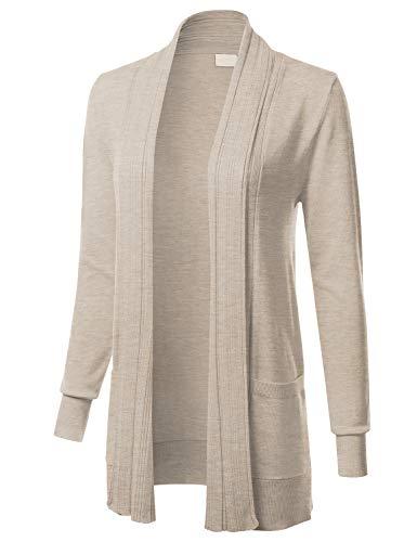 (Women's Long Sleeve Open Front Drape Ribbed Cardigan with Pockets Khaki)