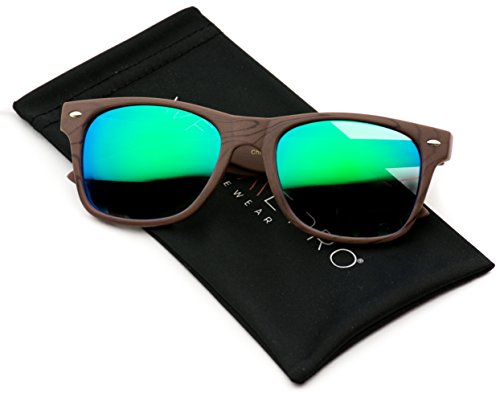 Revo Color Lens Horn Rimmed Sunglasses (Light Wood Print/Mirror Green, 54) (Wood Lens)