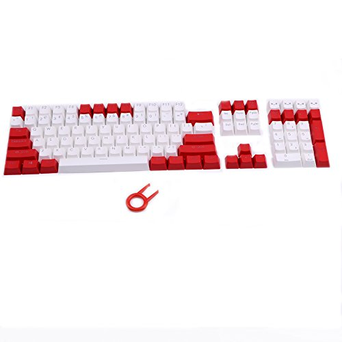 PBT Keycaps Backlit 108Key Set Doubleshot Translucent Cherry MX Key Caps Top Print with Keycaps Puller for 87/104/108 MX Switches Mechanical Gaming Keyboard (Red White Combo) (White Key Caps)