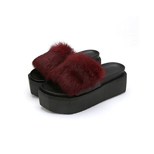 40630f684b6 Furry slipper ladies summer high heels home slipper also outdoor ...