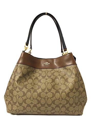Coach Lexy Pebble Leather Shoulder Bag Khaki Saddle 6414 ()