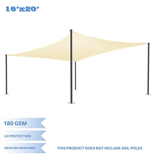 E&K Sunrise 16' x 20' Beige Sun Shade Sail Square Canopy - Permeable UV Block Fabric Durable Patio Outdoor Set of 1