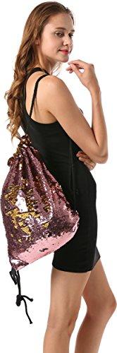 Ababalaya Glitzer Pailletten Tasche Rucksack Sporttasche Dance Kordelzugbeutel für Frauen Mädchen Rosa Gold