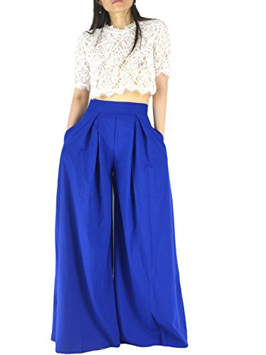YSJERA Women's Sexy Semi Sheer Short Sleeve Lace Crop Top w/High Waist Palazzo Pants 2 Pieces Jumpsuits by YSJERA