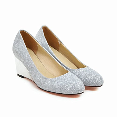Carolbar Women's Bling Bling Charm High Heel Wedge Court Shoes Silver ci1X24