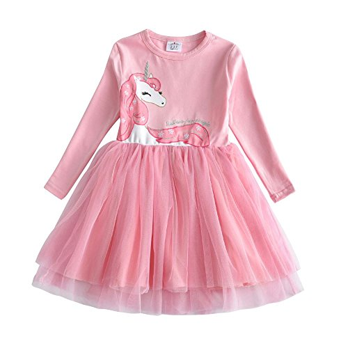 VIKITA 2018 Toddler Girls Horse Dress Long Sleeve Girl Dresses for Kids 3-8 Years LH4570PINK, 3T